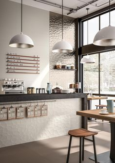 Design/ Interieur Tiles for contract use: design ideas with ceramics and porcelain stoneware - Maraz Cozy Coffee Shop, Small Coffee Shop, Coffee Store, Rustic Coffee Shop, Vintage Coffee Shops, Cofee Shop, Coffee Nook, Coffee Creamer, Coffee Coffee