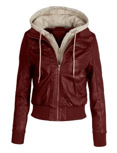 LE3NO Women's Zip Up Faux Leather Moto Jacket with Hoodie at Amazon Women's Clothing store: