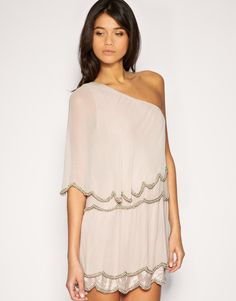 ASOS One Shoulder Dress with Scalloped Hem and Bead Embellishment-