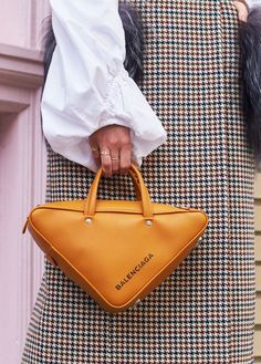 13 Pieces That Reached True Cult Status This Month - Shop the 17 Pieces That Every Street Style Photographer Is Snapping via - Espadrilles Outfit, Triangle Bag, Balenciaga Bag, Balenciaga Trainers, Balenciaga Handbags, Bike Bag, Textiles, Couture, Womens Fashion Online