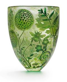 Art is not a luxury, it is a necessity. Four Seasons Hand-Carved Studio Glass Vases by Asprey, London Art Nouveau, Art Deco, Color Of Life, Shades Of Green, Vases, Favorite Color, Glass Art, Cut Glass, Four Seasons