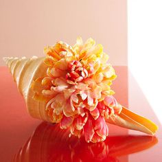 A Unique Seashell Vase: Things you need: Seashell, florist's wet foam(to fit the opening of shell), flowers like ruffly parrot tulips as shown here Diy Mothers Day Gifts, Happy Mothers Day, Gifts For Mom, Seashell Bouquet, Vases, Mother's Day Bouquet, Parrot Tulips, Vacation Memories, Mothers Day Flowers