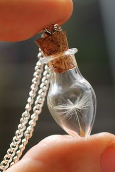Handmade Dandelion wish miniature bottle necklace, the perfect luck charm for brides to be :)