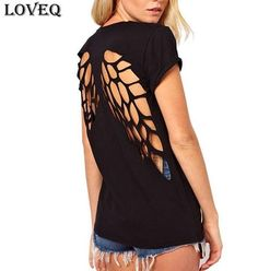 Sexy Angel Pattern hollow out Solid Women T shirt blusa O neck Backless Casual Loose femme tee tops shirts camisetas mujer Diy Fashion, Ideias Fashion, Womens Fashion, Fashion Design, Fashion Trends, Style Fashion, Fashion 2014, Hipster Fashion, Fashion Fabric