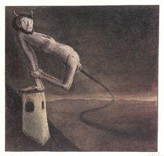 Alfred Kubin - THE DEVIL ON THE CHIMNEY, 1902