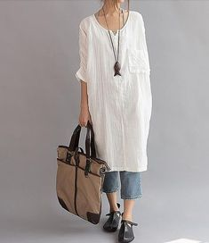 Summer dress, Dresses for women, Dark green dress, Dark blue Dresses 【Fabric】 Cotton 【Color】 White 【Size】 Without limiting Shoulder . Look Fashion, Winter Fashion, Womens Fashion, Fashion Trends, Sewing Dresses For Women, Clothes For Women, Mode Outfits, Chic Outfits, Preppy Outfits