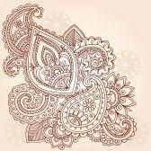 Abstract Henna Mehndi Paisley Hand-Drawn Doodle Vector Illustration Design Elements  stock photography