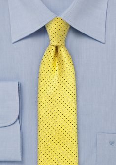 Trendy Skinny Tie in Bright Yellow with Navy Dots, $15 | Cheap-Neckties.com