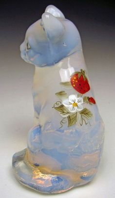 Fenton Art Glass Sitting Cat No. 5165SF HP Strawberries French Opal 1981 to 1982