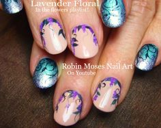 Nail Art for Monday!! Purple flowers with Teal Ombre !!! #Lavender #Flower Nails Summer #Filigree #DIYnails #ombre #nailart #summer #mani #trendy #howto #doityourself #diy #nails #nails2015 #nail #art #designs #tutorial #howtonails #nailsDIY #nailartdiy #diynailart #ombre