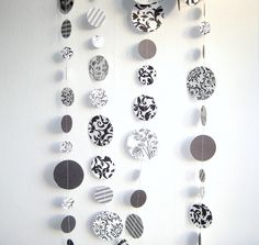 Black and White Circles Paper Garland  (7.5 ft) - Wedding Decoration, Birthday, Black & White theme Party Decoration, Photo Prop (Handmade). $10.00, via Etsy.