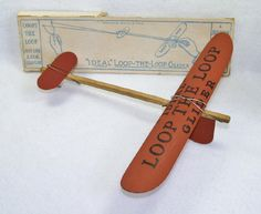 "Ideal ""Loop the Loop"" glider (ca 1920-21) – This glider was produced by the Ideal Aeroplane & Supply Co (NY) and was one of the first good performing and relatively affordable ready-to-fly toy gliders.  They appeared in Ideal catalogs as early as 1914.  Two versions of this design were available … one using ""fibreboard"" for the wing & canard … and a more expensive version using wood for these components."