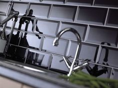 Black Ceramic Subway Tile Kitchen Backsplash: Found at http://www.subwaytileoutlet.com/