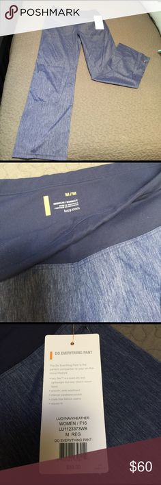 """BNWT LUCY Do Everything Pant size Medium BNWT Lucy Do Everything Pant in size medium regular (31"""" inseam). Navy Heather color. Pockets have zipper closure. No pockets on back. Lucy Pants Track Pants & Joggers"""