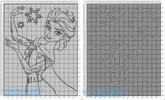 Copertina neonato bimba filet con la Principessa Disney Frozen Elsa schema gratis 200 crocette