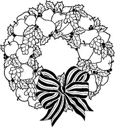 Wreath Free Coloring Pages For Christmas Holiday