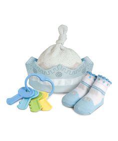 Light Blue Snowflake Crown Single-Knot Beanie Set