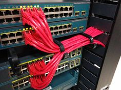 Cisco Switches. Running cables for power over Ethernet. Cable management