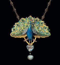 LEOPOLD VAN STRYDONCK Attrib.  Art Nouveau Peacock Pendant  Gold Enamel Emerald Ruby Diamond