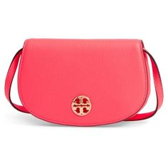 Women's Tory Burch Mini Jamie Leather Crossbody Bag ($258) ❤ liked on Polyvore featuring bags, handbags, shoulder bags, dahlia pink, mini crossbody purse, tory burch handbags, mini crossbody, red crossbody purse and pink leather purse