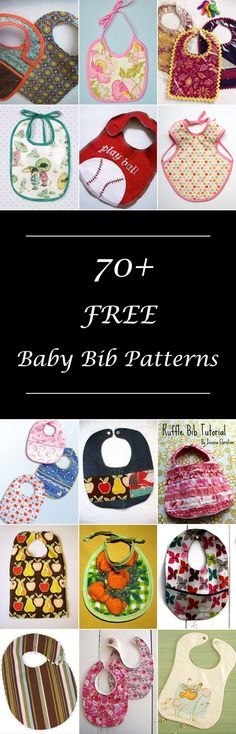 Lots of free baby bib patterns, most with printable templates. DIY baby bib sewing projects & tutorials. Boy & girl baby bibs, many cute, simple & easy designs. How to make a baby bib. Shower gift ideas. #babybibpattern #babybibpatterns
