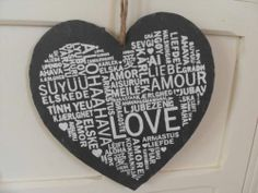 SLATE LOVE HEART WITH LOVE WORDS CHIC N SHABBY WALL PLAQUE