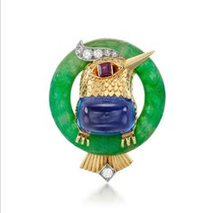 Cartier songbird in a jadeite hoop. Its tummy a 15.95ct sapphire. Signed Cartier London, made in 1951. In the @sothebysjewels online only…