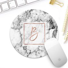 Rose gold marble Monogram mouse pad for her white marble