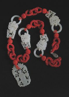 Chinese Jade Devils Work Necklace - carved nephrite