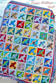 I love this quilt!! Margaret's Hope Chest: Blogger's Quilt Festival--Junior Birdman Quilt