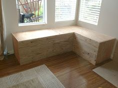 The Good Life Takes Work: Making a Corner Storage Bench Kitchen Corner Bench, Corner Bench With Storage, Corner Bench Seating, Window Seat Storage, Corner Couch, Diy Storage Bench, Dining Table With Bench, Diy Bench, Kitchen Banquette