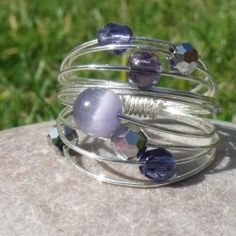 Amethyst and silver wire wrapped ring
