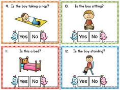 Yes No Question Cards-Yes No Questions Speech. by Learning Desk Social Skills Activities, Vocabulary Activities, Preschool Learning Activities, Language Activities, Speech Language Therapy, Speech Therapy Activities, Speech And Language, English Grammar For Kids, Learn English Words