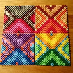 Tribal pattern coaster set perler beads by malins.perler