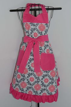 Reversible Apron in Floral and Stripe Prints - pinned by pin4etsy.com