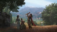 View an image titled 'Family Moment Art' in our Assassin's Creed Odyssey art gallery featuring official character designs, concept art, and promo pictures. Assassins Creed Game, Assassins Creed Odyssey, Film Manga, Master System, Greek Warrior, Environment Concept Art, Fantasy Landscape, Fantasy Inspiration, Ancient History