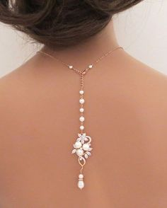 Bridal backdrop necklace, Rose Gold back drop necklace, Wedding jewelry, Crystal necklace, Back necklace, Pearl…