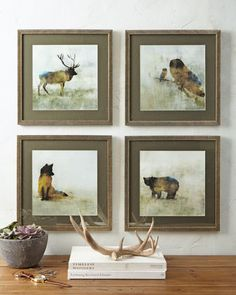 """""""Forest Animals"""" Prints, 4-Piece Set at Horchow."""