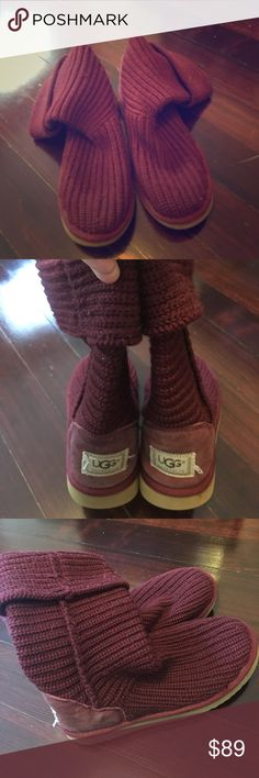 UGGs Slouchy Boots Authentic UGGs in excellent condition.  In maroon/burgundy which is such an amazing fall and winter color.  Inside UGG quality fur still fully in tact,  these were barely worn. UGG Shoes Winter & Rain Boots