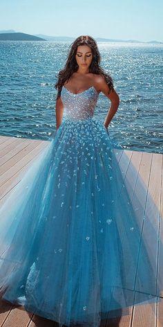 21 Adorable Blue Wedding Dresses For Romantic Celebration Princess Prom Dresses, Pretty Prom Dresses, Tulle Prom Dress, Cheap Prom Dresses, Quinceanera Dresses, Homecoming Dresses, Cute Dresses, Bridal Dresses, Ball Gowns Prom