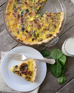 Lightened Up Spinach Bacon Quiche full of flavor light on calories perfect for Brinner