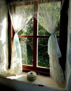 cottage with lace curtains Window Coverings, Window Treatments, Woodlands Cottage, Cottage Windows, Lace Curtains, Window Curtains, Lace Window, Country Curtains, Looking Out The Window