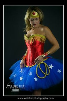 Wonder Woman Inspired Tutu and Corset Adult Costume with Lariat, Wrist Cuffs and Tiara