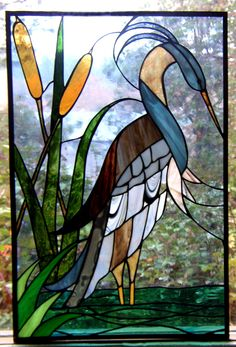 stained glass blue heron - combines the lake house memories with our love of art & memories of craft fairs, etc