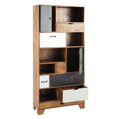 Solid mango wood bookcase W Funny Furniture, Cabinet Furniture, Wooden Furniture, Vintage Furniture, Home Furniture, Furniture Design, Bookshelf Storage, Bookcase, Shelves
