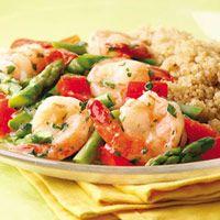Lemon-Garlic Shrimp & Vegetables over quinoa - this sounds really good and got 5 of 5 stars