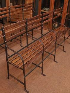 Wood and metal train benches from the 1940s. Want these on my porch!!!!