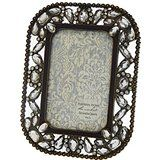 Rhinestone Jeweled Antiqued Brass Large Clear Stones 4 x 6 Picture Frame