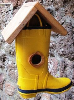 Too Cute Boot Birdhouse Upcycled Refurbished by HappyMediumStudios, $19.00