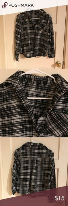 Brandy black/grey flannel Pre-owned brandy flannel. OS. Pilling throughout. Brandy Melville Tops